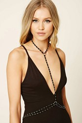 Forever 21 Faux Suede Body Chain Black Silver
