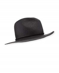 Yestadt Millinery Classic Packable Straw Fedora Hat Black