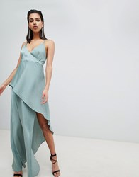 The Jetset Diaries Asymmetric Wrap Maxi Dress Sea Spray Green