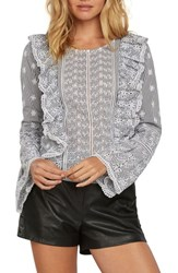 Willow And Clay Eyelet Ruffle Blouse Black