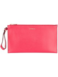 Furla Grained Clutch Bag Red
