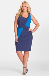 Plus Size Women's Mynt 1792 Colorblock Box Pleat Sheath Dress Patriot Blue