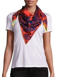 Etro Reversible Silk Scarf Red Yellow