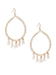 Saks Fifth Avenue Beaded Hoop Earrings 1.25 Peach
