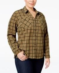 Ny Collection Plus Size Paisley Print Utility Shirt Olive Roomtile