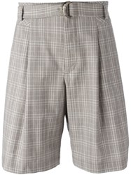 Maison Flaneur Plaid Tailored Shorts Nude Neutrals