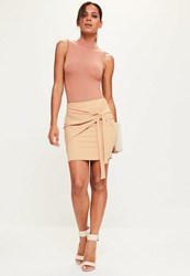 Missguided Nude Jersey Crepe Tie Front Mini Skirt