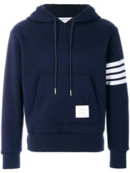 Thom Browne 4 Bar Cashmere Shell Relaxed Hoodie Blue