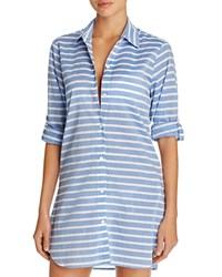 Tommy Bahama Breton Stripe Boyfriend Shirt Swim Cover Up Vivid Blue