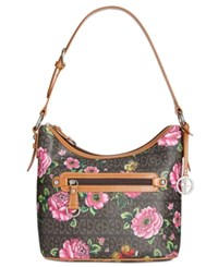 Giani Bernini Floral Block Signature Small Hobo Created For Macy's Brown Rose