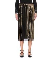 Warehouse Metallic Plisse Midi Skirt Brown
