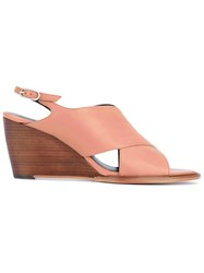 Robert Clergerie 'Glenn' Wedge Sandals Women Calf Leather Leather 37.5 Nude Neutrals