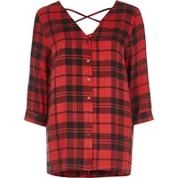 River Island Womens Red Check Print Cross Back Long Sleeve Blouse