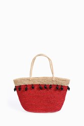 Sensi Studio Wooden Beads Canasta Tote Red