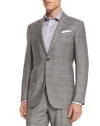 Ermenegildo Zegna Plaid Wool Two Piece Suit Black White No Color