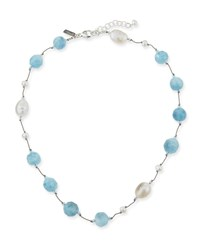 Margo Morrison Crystal Pearl And Aquamarine Necklace Blue White