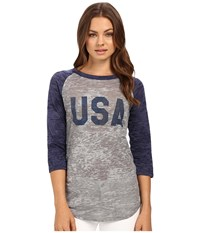 Alternative Apparel Big League Baseball Tee Usa Print Grey Heather Navy T Shirt Gray