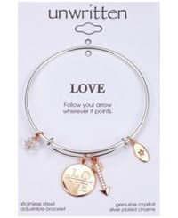 Unwritten Love Disc Crystal And Arrow Adjustable Bangle Bracelet In Stainless Steel Two Tone