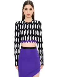 David Koma Geometric Jacquard Knit Crop Top