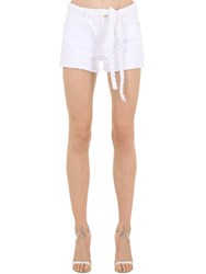 Frame Cotton Blend Denim Shorts W Braided Belt White