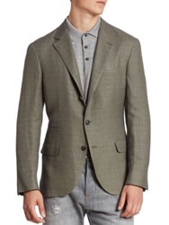 Brunello Cucinelli Slim Fit Linen Wool And Silk Jacket Bordeaux Olive