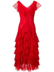 Alexander Mcqueen Ruffled Dress Red