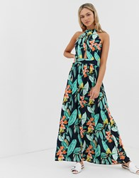 Qed London High Neck Tie Back Maxi Dress In Floral Print Multi