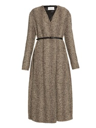 Lemaire Wrap Front Wool Tweed Long Coat