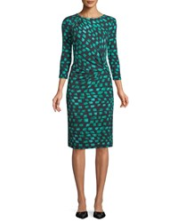 Nic Zoe Round Neck 3 4 Sleeve Vivid Print Twist Front Dress Bright Jade