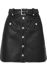 Maje Janaille Belted Leather Mini Skirt Black