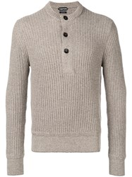 Tom Ford Ribbed Button Sweatshirt Men Cotton Linen Flax Cashmere 52 Nude Neutrals