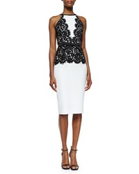 Michael Kors Collection Floral Lace Overlay Bow Belted Dress Size 6 White