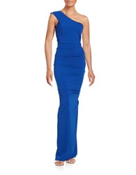 Nicole Bakti One Shoulder Sheath Gown Royal