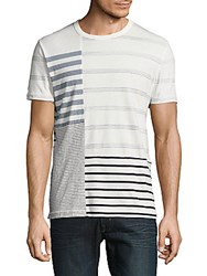 French Connection Wara Striped Patchwork Crewneck T Shirt White Blue
