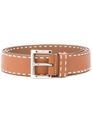 Prada Contrast Stitch Buckle Belt Brown