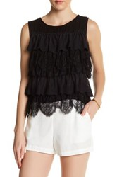 Ella Moss Tiered Lace Tank Black