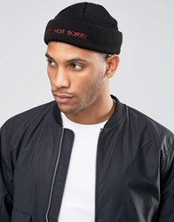 Asos Mini Fisherman Beanie With Sorry Not Sorry Embroidery Black