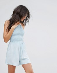 Influence Shirred Halter Neck Playsuit Light Wash Chambray Blue