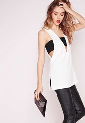 Missguided Contrast Band Sleeveless Blouse White White
