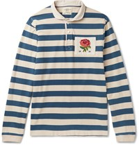 Kent And Curwen Appliqued Striped Cotton Jersey Polo Shirt Blue