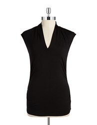 Vince Camuto Ruched V Neck Top Rich Black