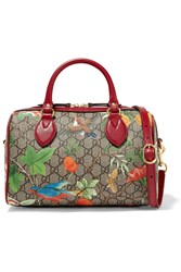 Gucci Linea A Small Textured Leather Trimmed Printed Coated Canvas Duffle Bag
