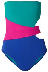 Karla Colletto Marcella Cutout Color Block Swimsuit Turquoise