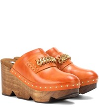 Stella Mccartney Wood And Faux Leather Clogs Orange