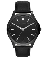 Ax Armani Exchange Men's Diamond Accent Black Leather Strap Watch 46Mm Ax2171