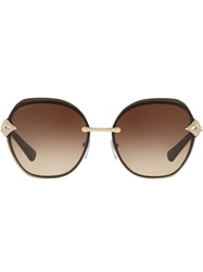 Bulgari Oversized Round Frame Sunglasses Metallic