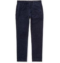 Massimo Alba Navy Winch 2 Slim Fit Cotton Corduroy Trousers Blue