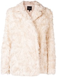Theory Faux Shearling Jacket Nude And Neutrals