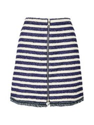 Sonia By Sonia Rykiel Fringed And Striped Tweed Skirt Navy White
