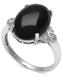 Macy's Onyx 10Mm And Diamond 1 10 Ct. T.W. Ring In Sterling Silver